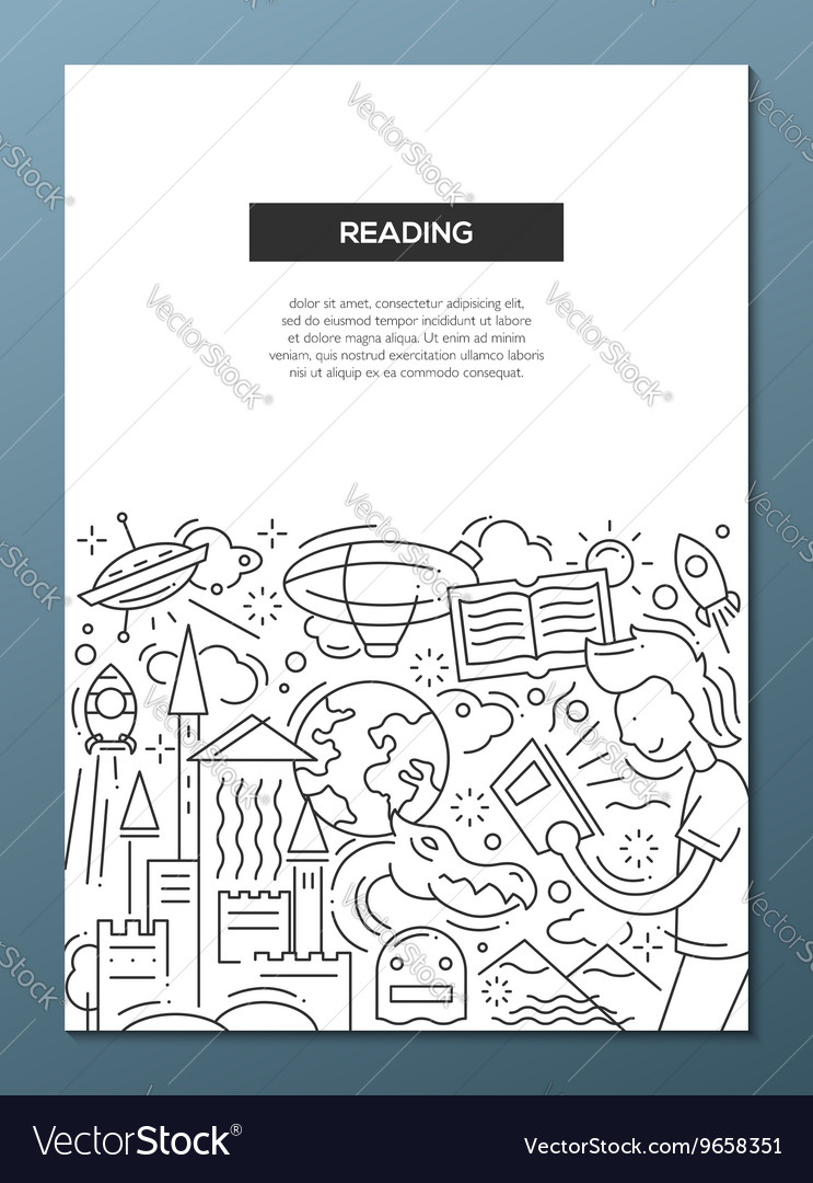 Reading  line design brochure poster template a4 vector