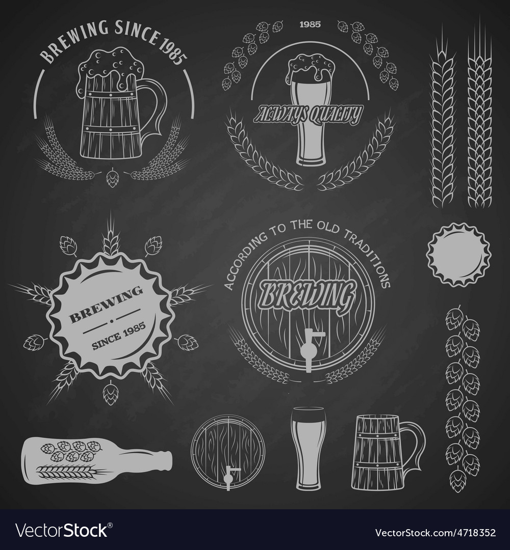 Beer emblems labels and design elements vector