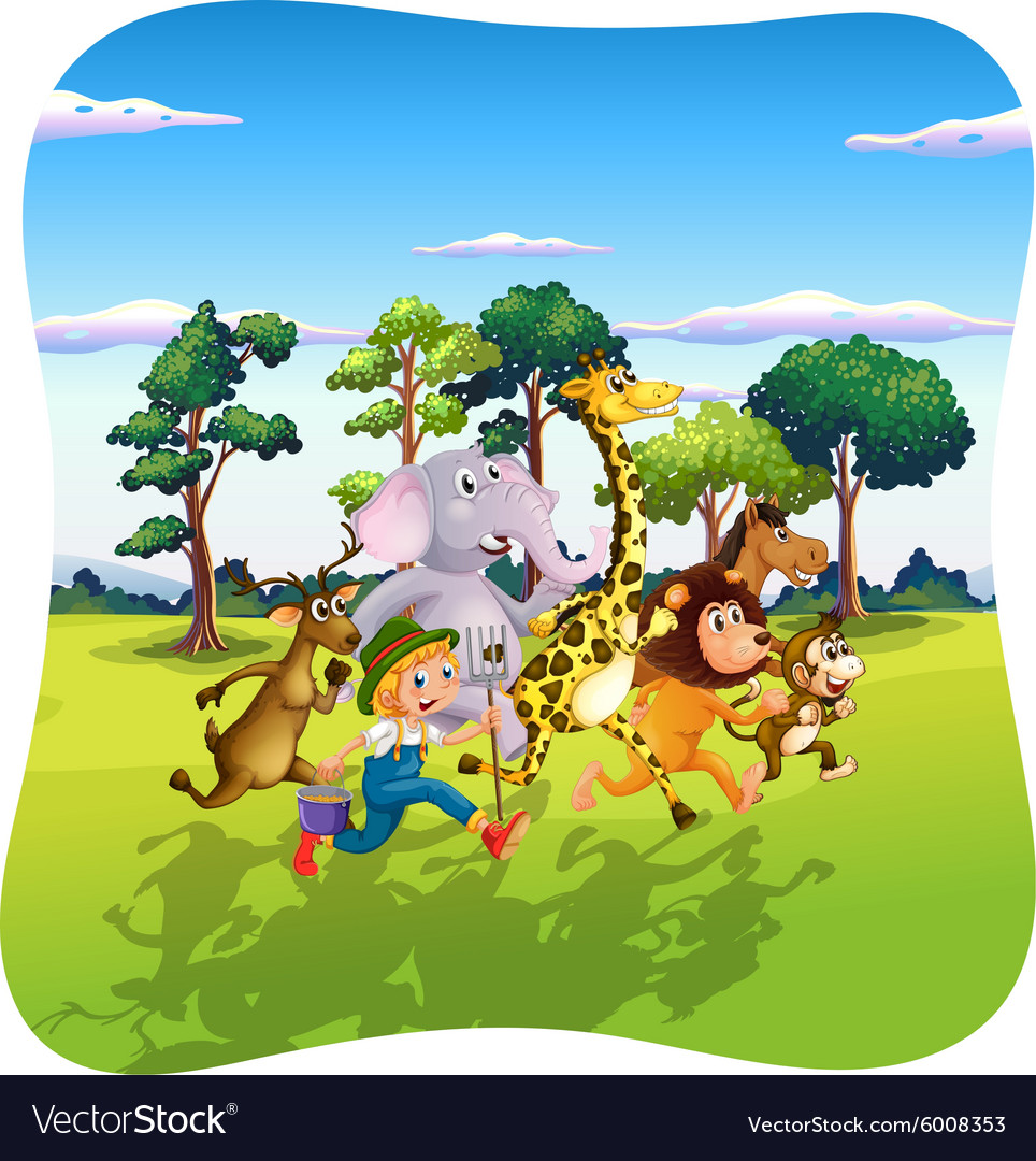 Animals and farmer running in nature vector