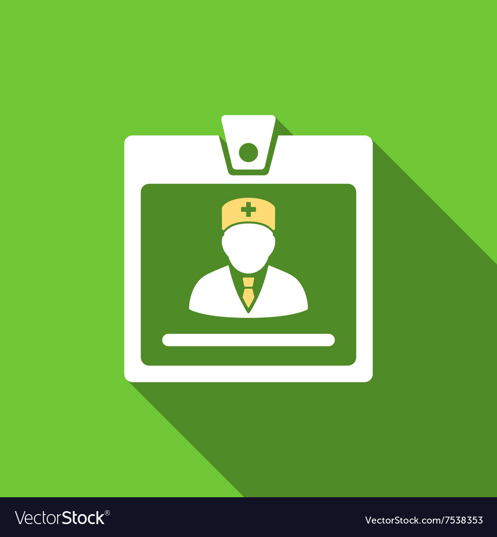 Doctor badge flat long shadow square icon vector
