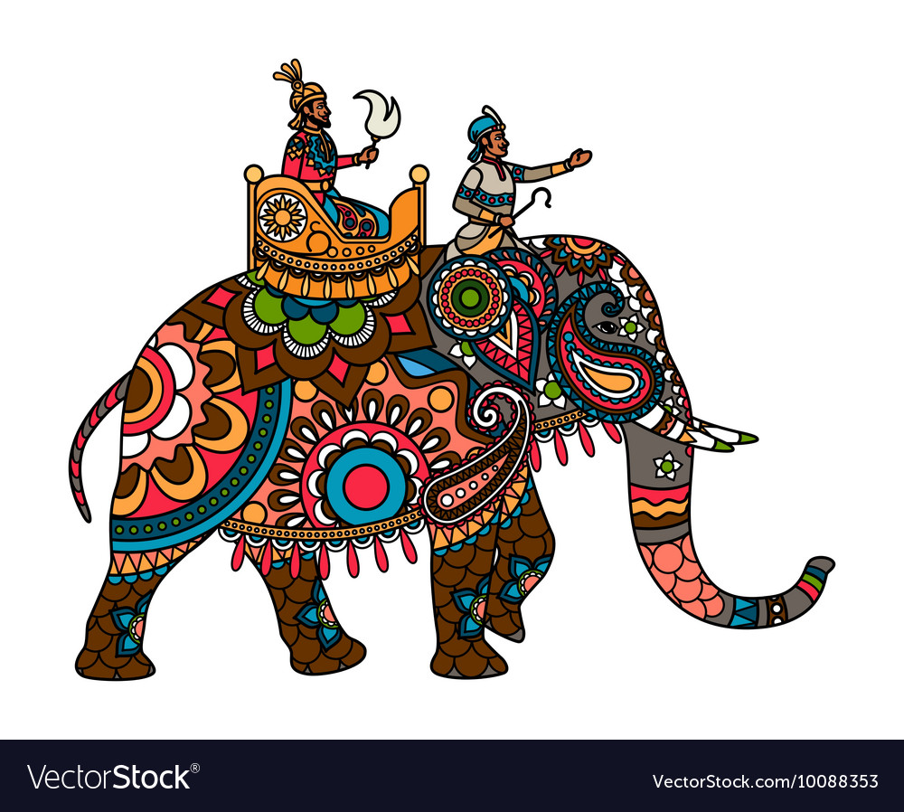 Indian maharajah on the elephant colored vector