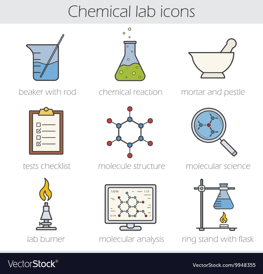 Chemical lab icons vector