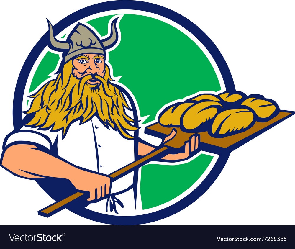 Viking baker peel dough circle retro vector