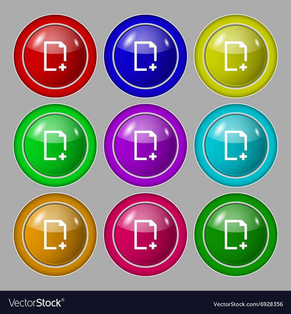 Add file icon sign symbol on nine round colourful vector