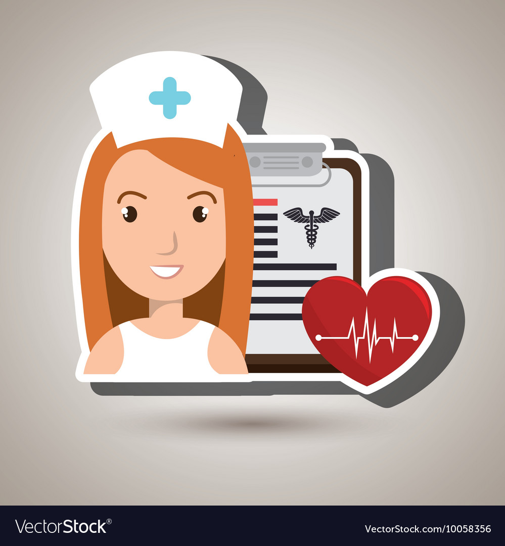 Nurse heart clipboard medicine vector