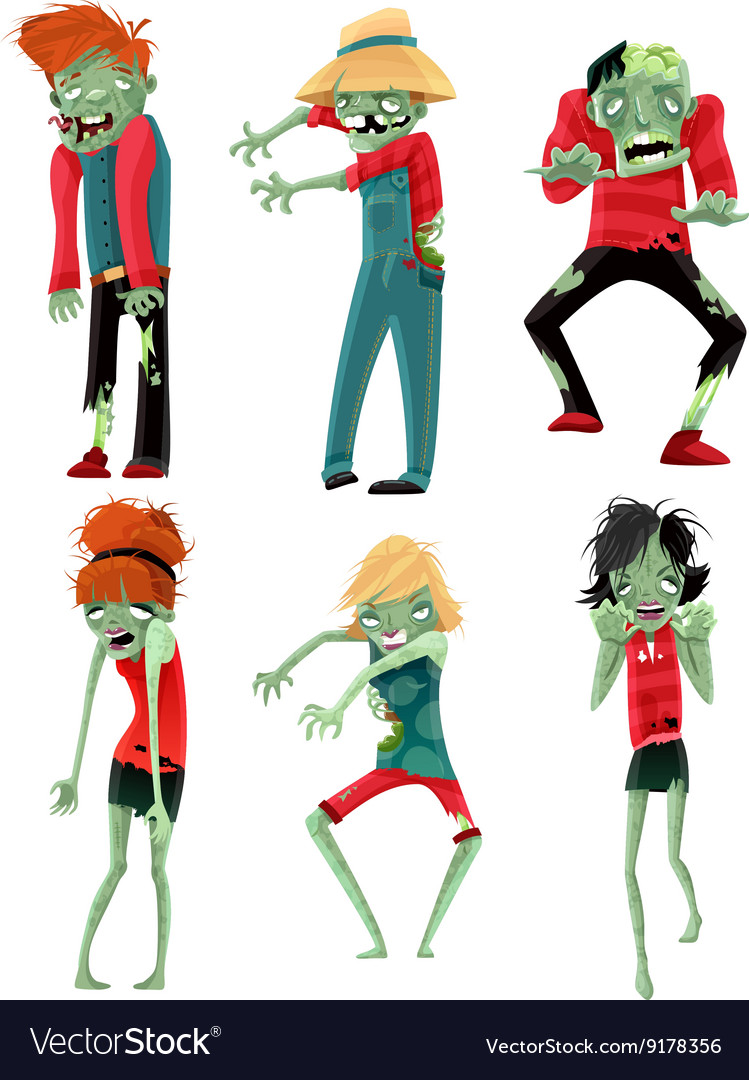 Zombie monsters characters game figures set vector