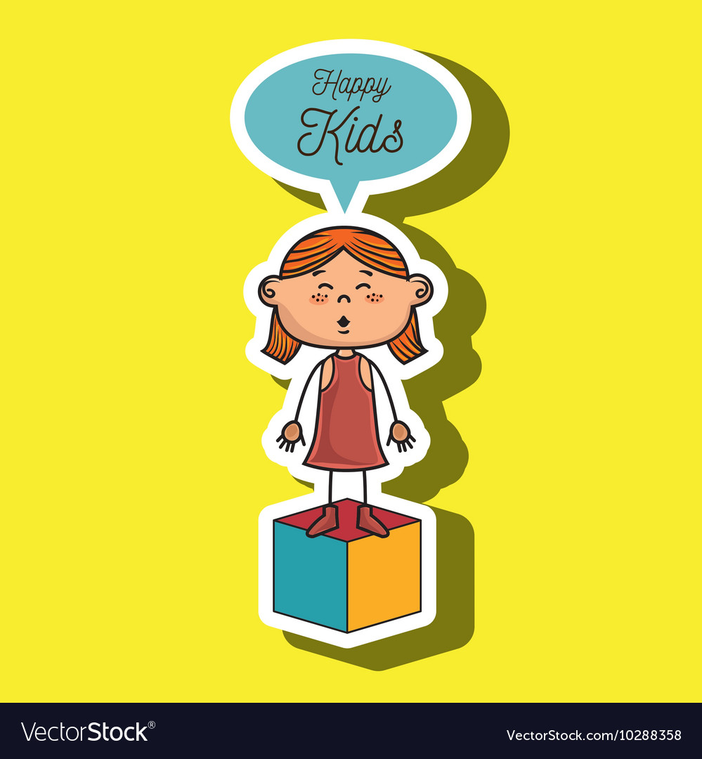 Girl kids happy cube icon vector
