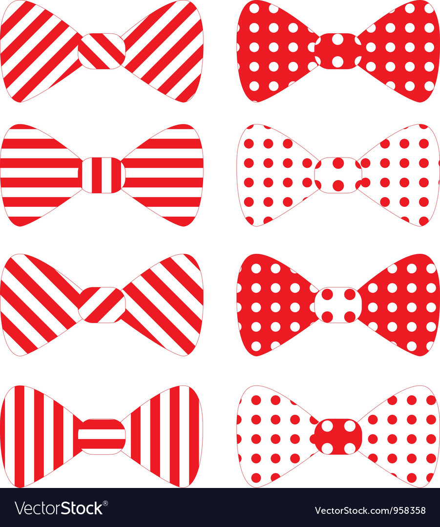 Set of red bow ties vector