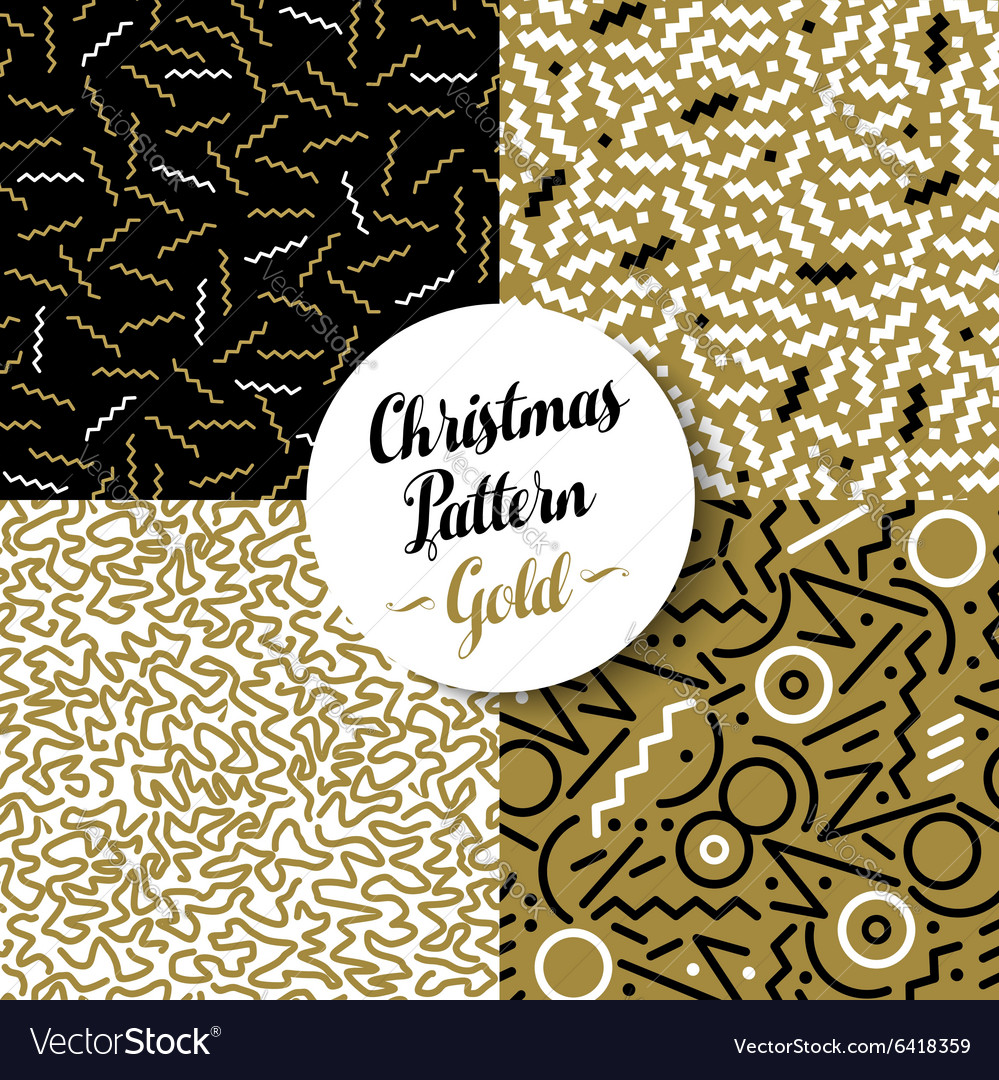 Merry christmas pattern set gold retro 80s holiday vector