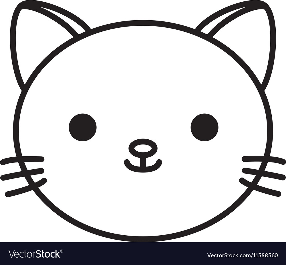 Cute cat kawaii style vector