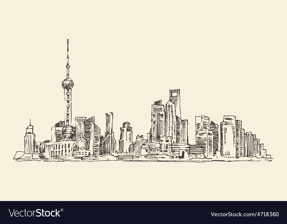 Shanghai china city architecture vintage vector