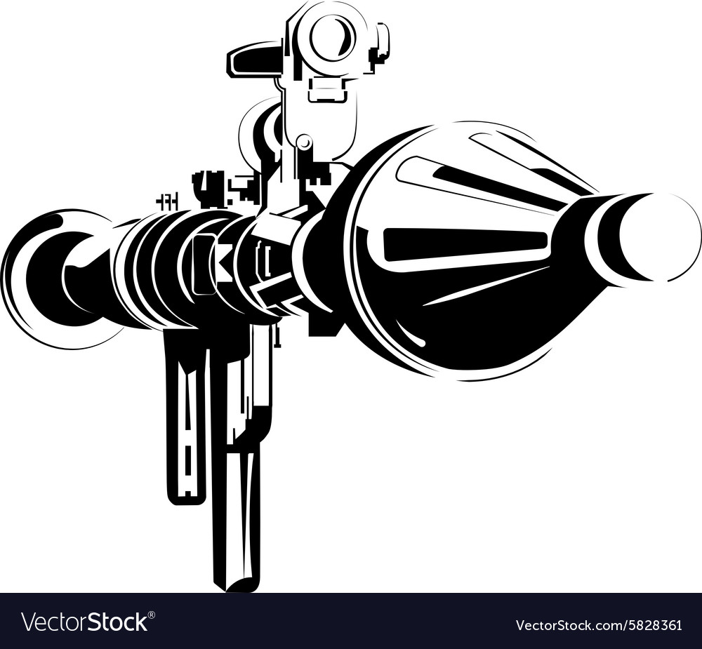 Antitank bazooka color rpg isolated on white vector