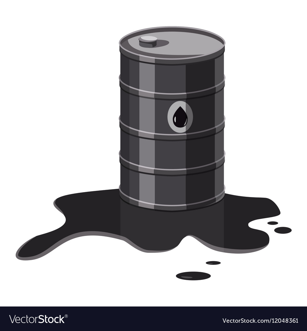 Metal barrel with oil icon cartoon style vector