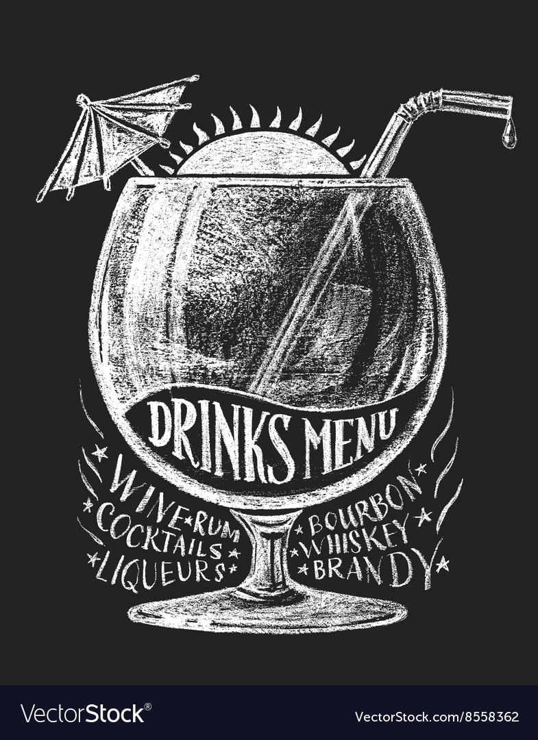 Drinks menu on blackboard vector