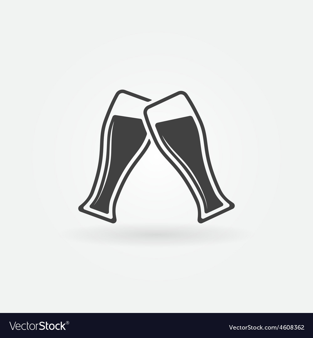 Two glasses of beer icon vector
