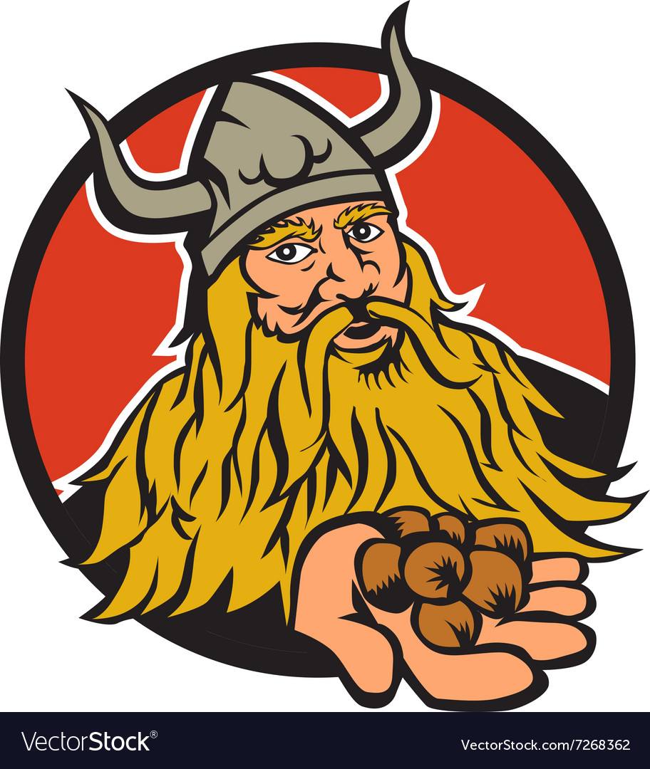 Viking handing hazelnut circle retro vector