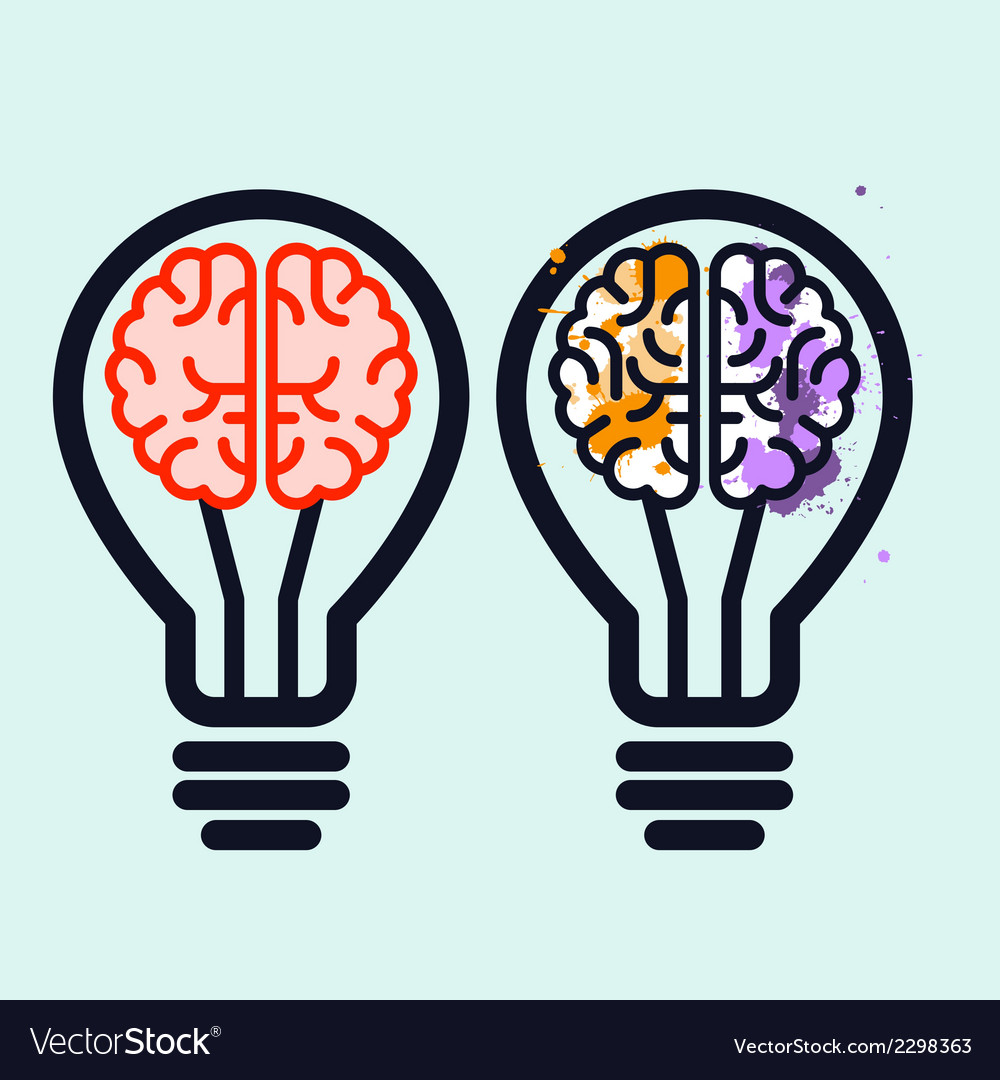 Light bulb with brain and blots inside vector