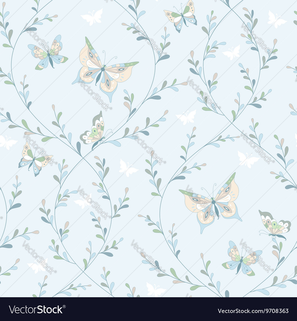 Spring pattern butterflies vector