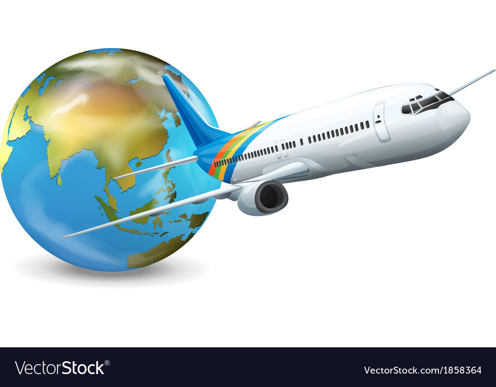 Earth globe and airplane vector