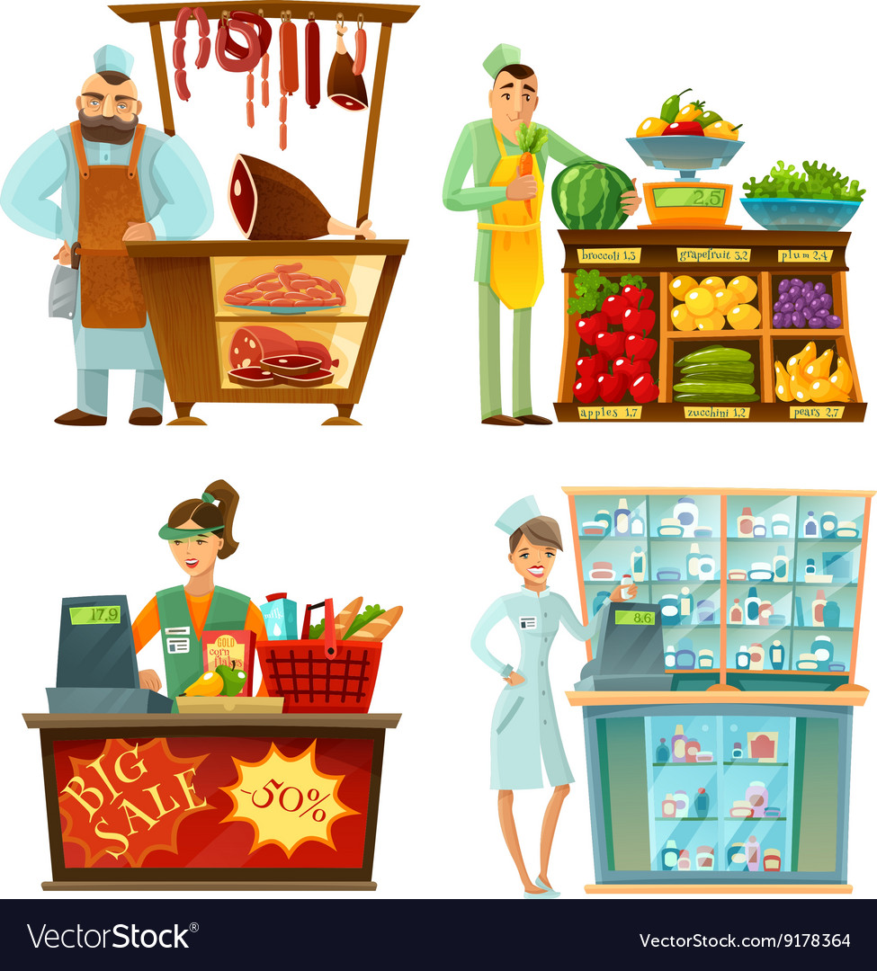 Seller counter service 4 cartoon compositions set vector