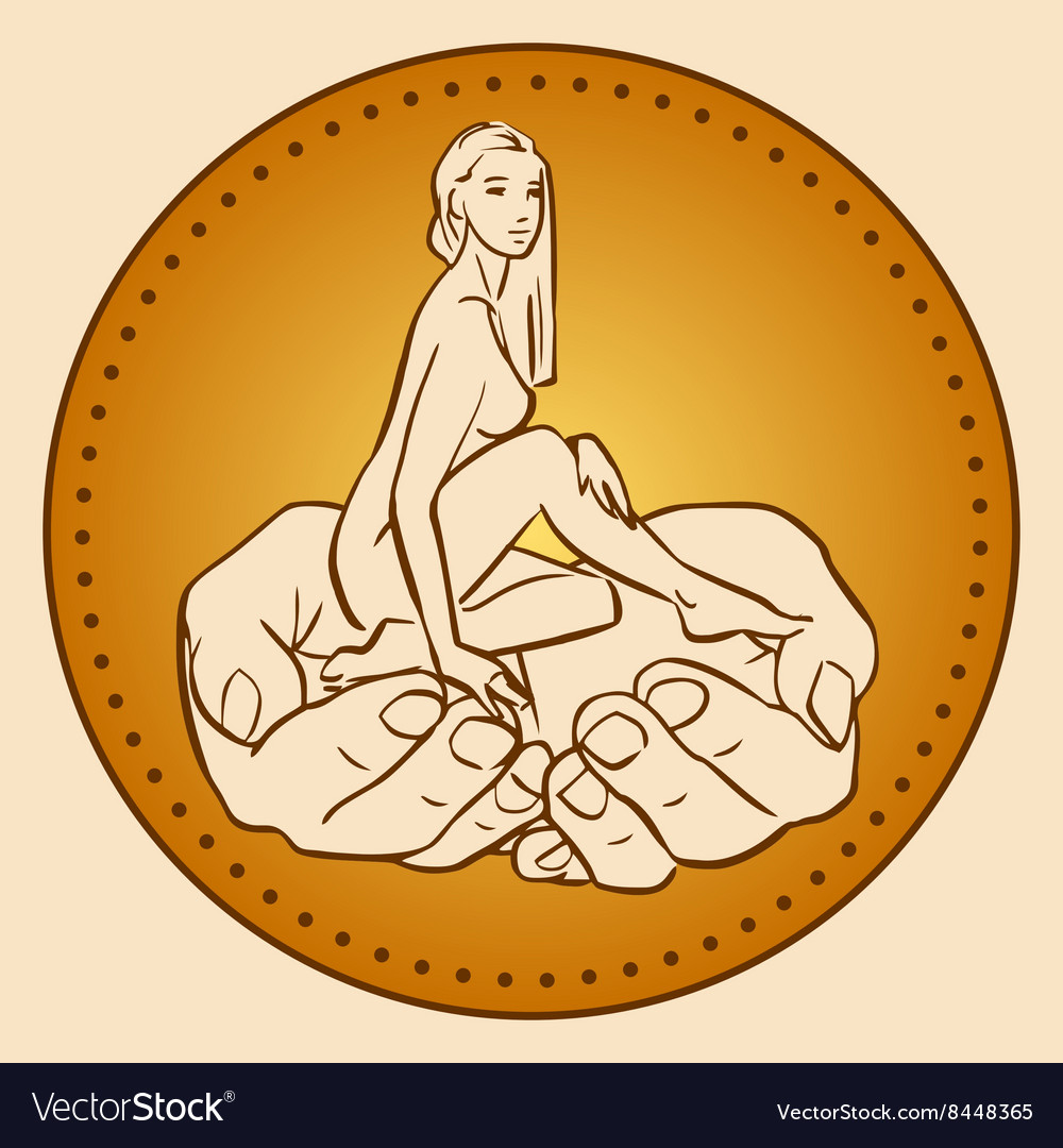 Little woman sitting in male hands vector