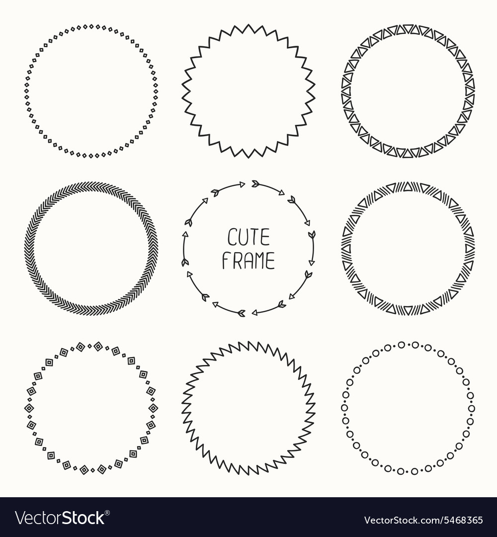 Set of hand drawn ethnic arrows frame doodles vector