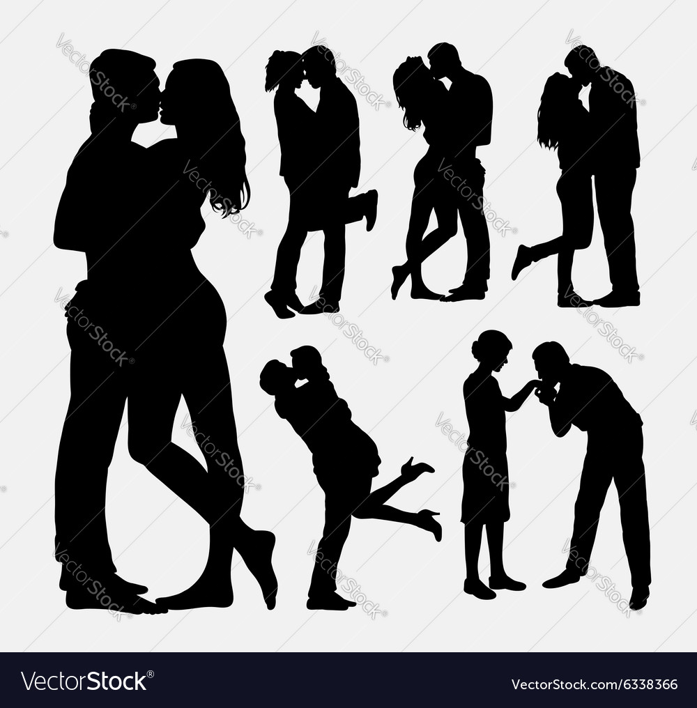 Valentines kissing couple people silhouettes vector