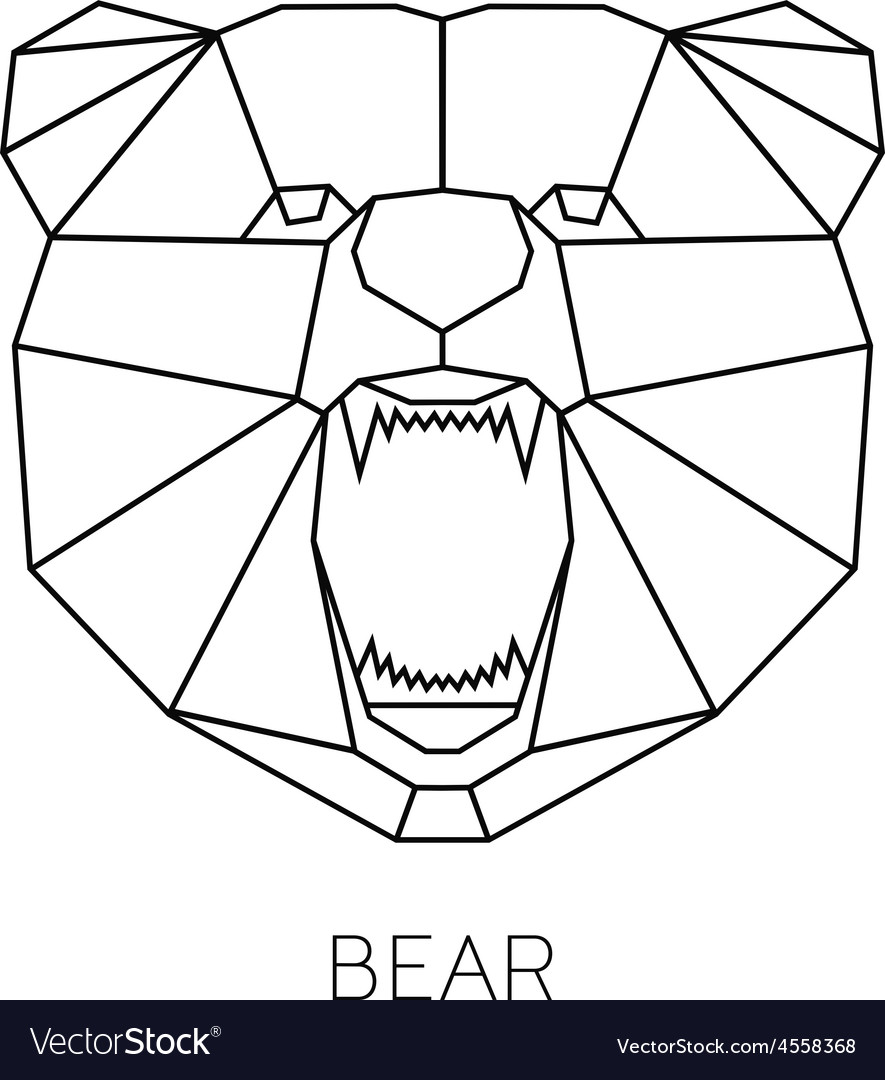 Color with geometric bear of vector