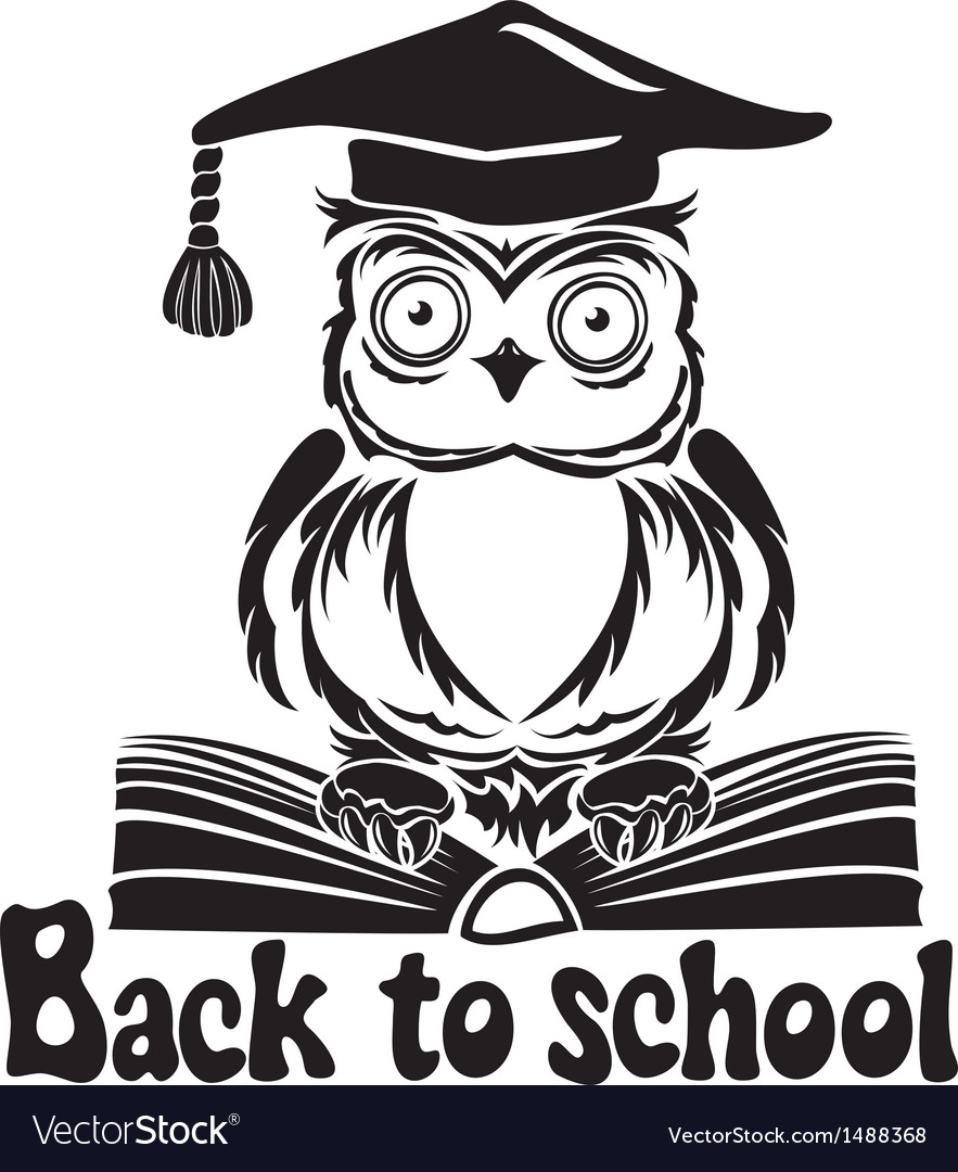 Decorative bird  owl with graduation cap and book vector