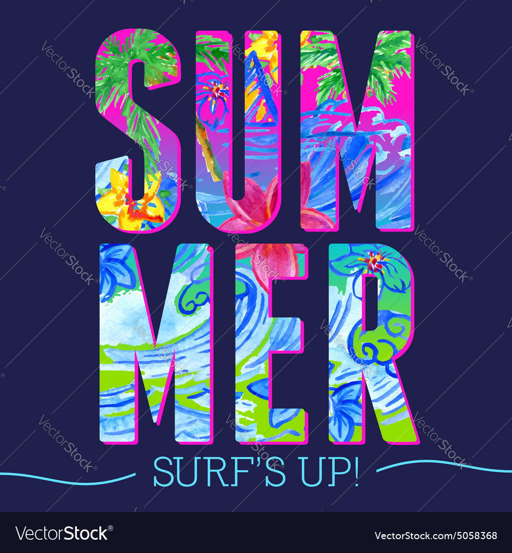 Summer letters watercolor pattern vector