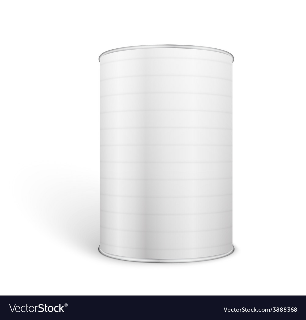 White blank tincan metal tin can canned food vector
