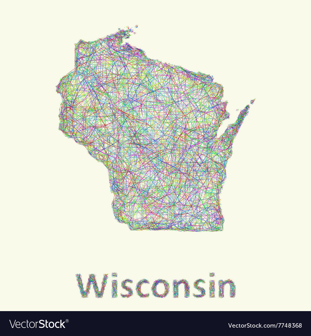 Wisconsin line art map vector
