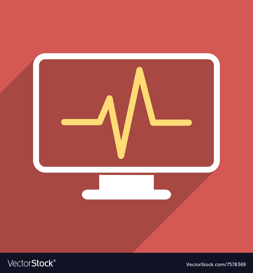 Cardiogram monitoring flat long shadow square icon vector