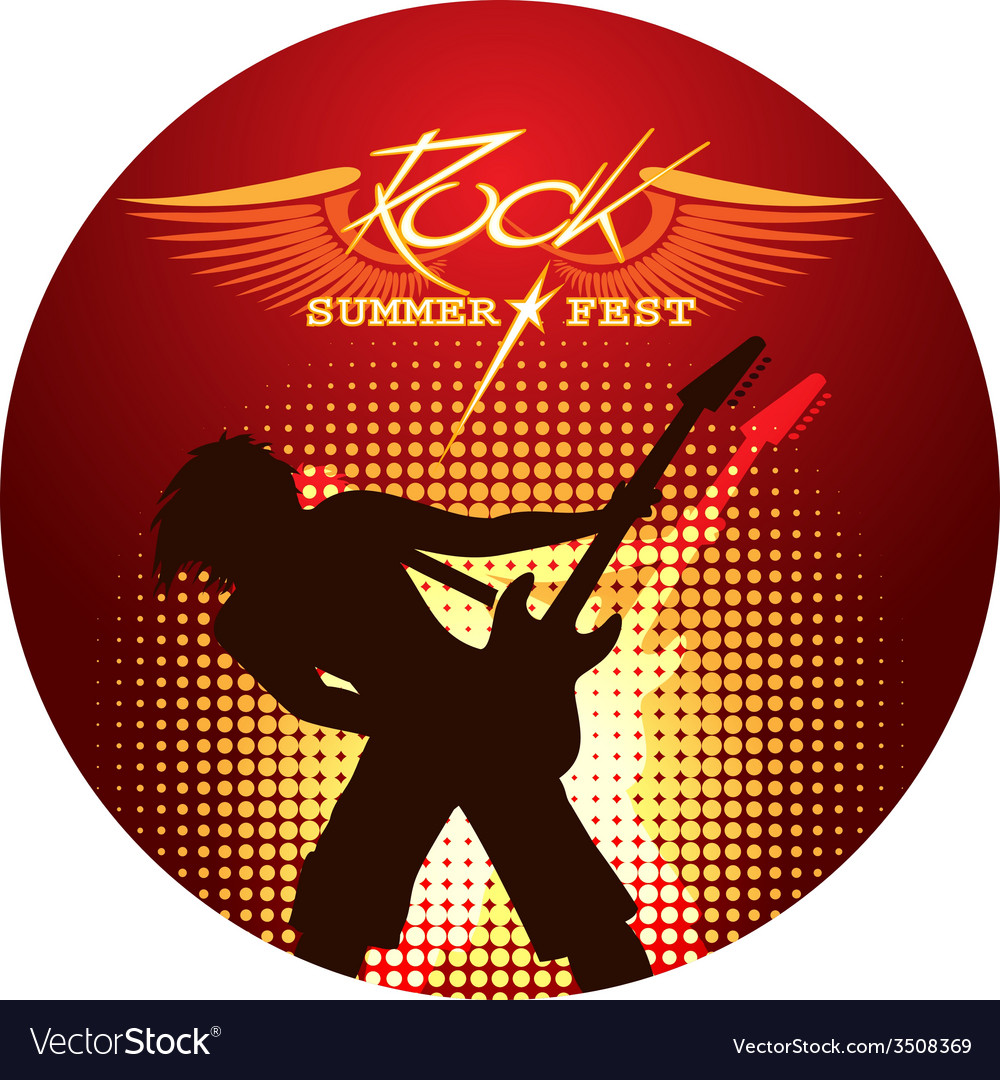 Silhouette of musician playing guitar vector
