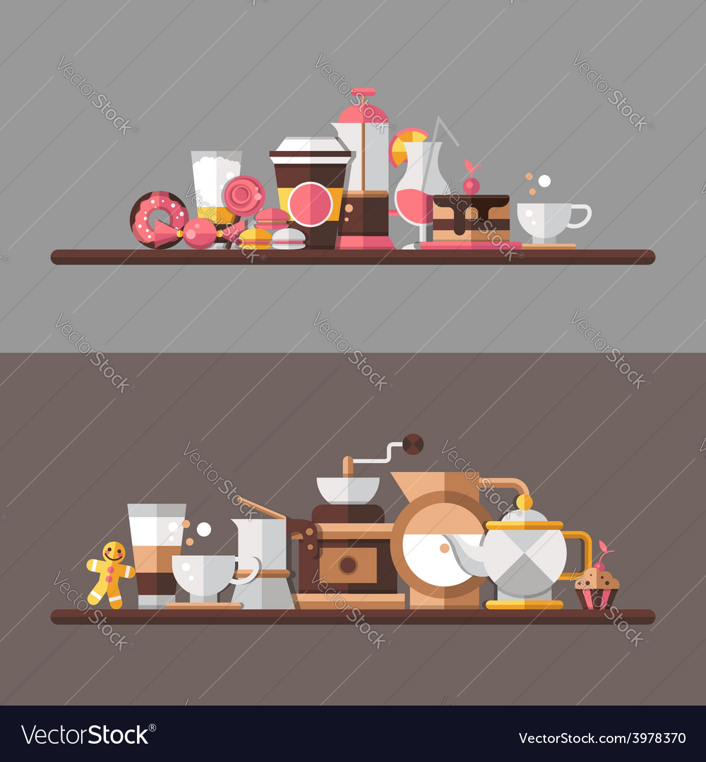 Set of modern flat design coffeeshop cafe and vector