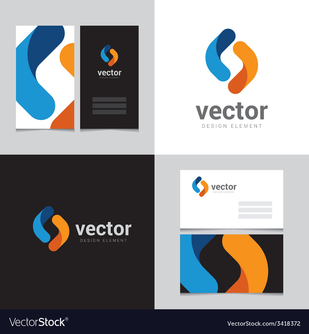 Logo design element with two business cards  15 vector