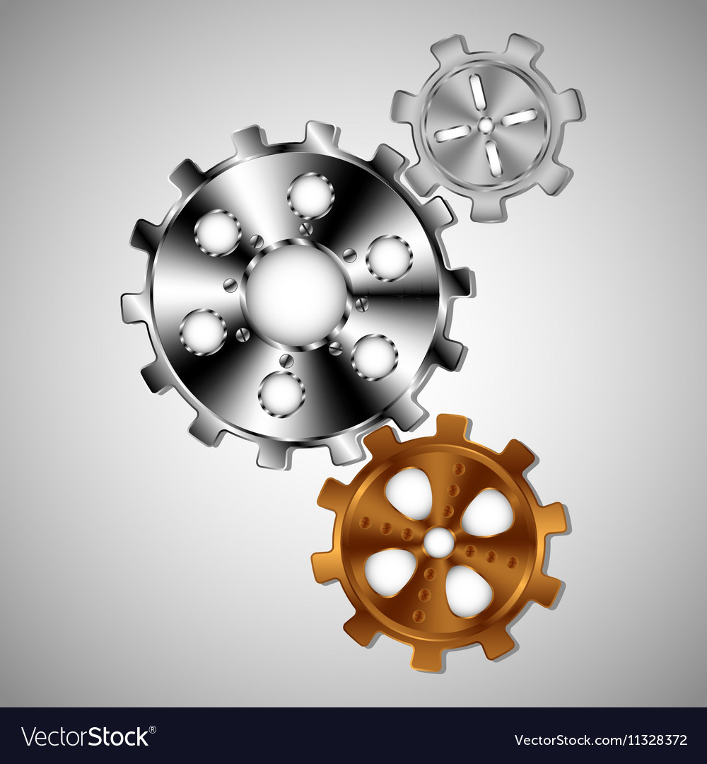 Three gears of different sizes vector