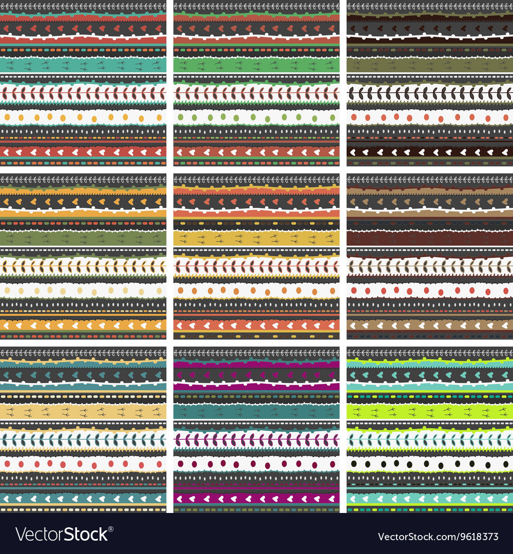 Big pattern set whimsical embroidery stripes vector