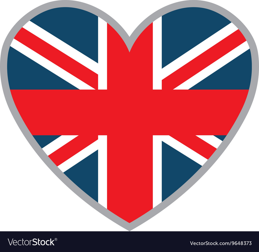 Heart and british flag graphic vector
