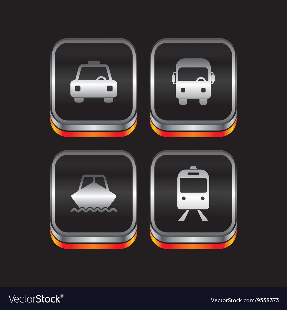 Metal plate vehicle theme icon button vector