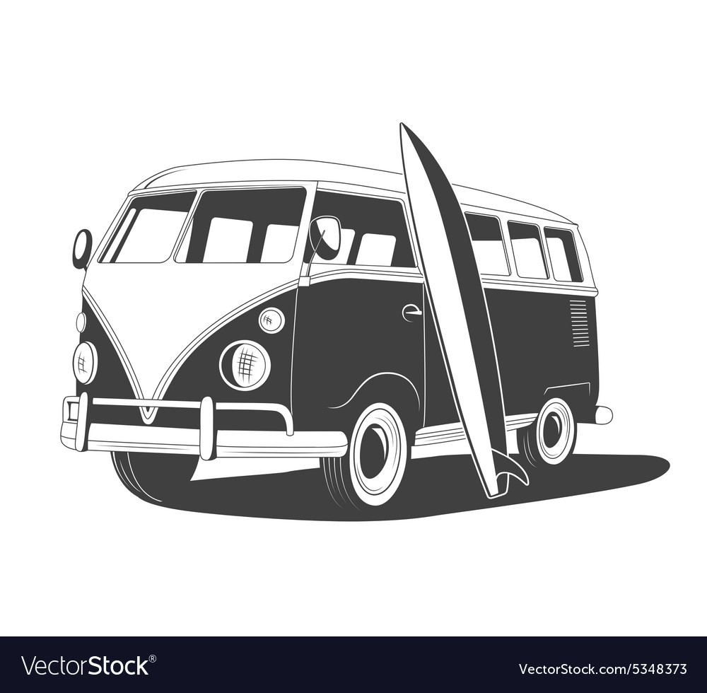 Retro travel bus with surfboard side view vector