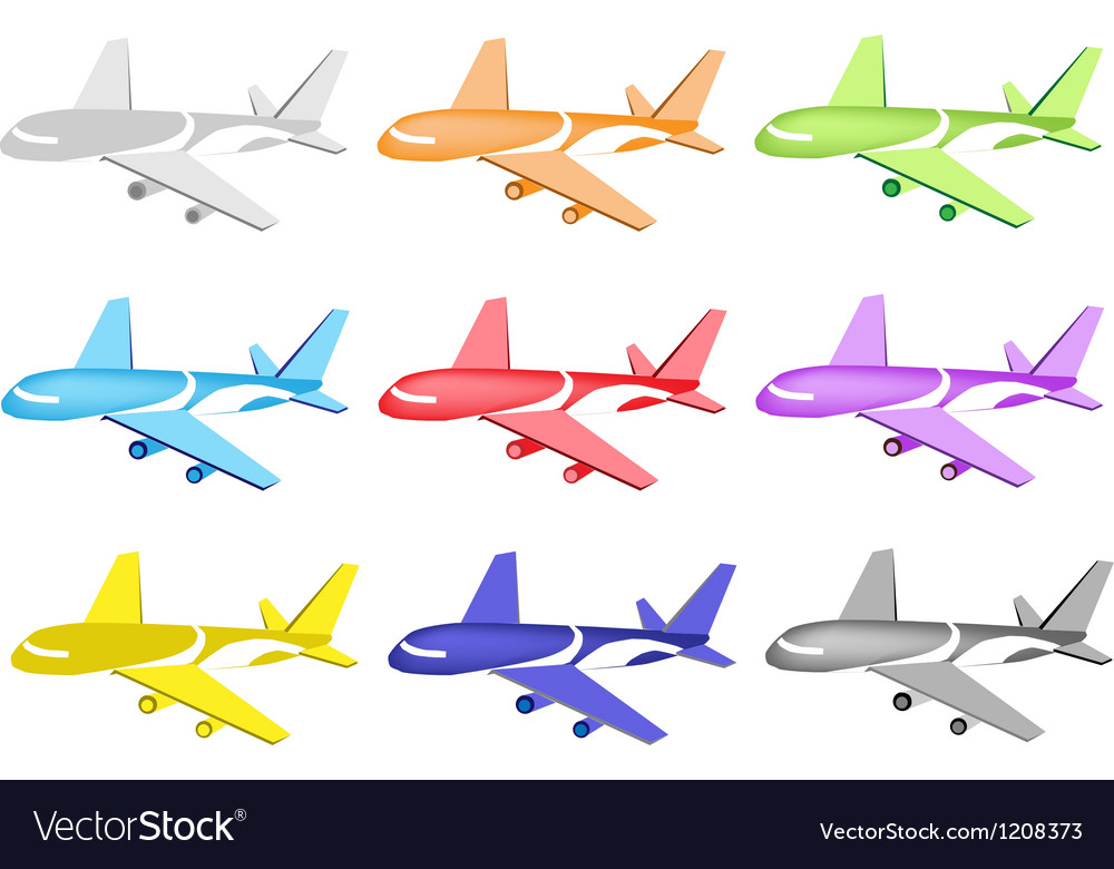 Set of commercial airplane icons vector