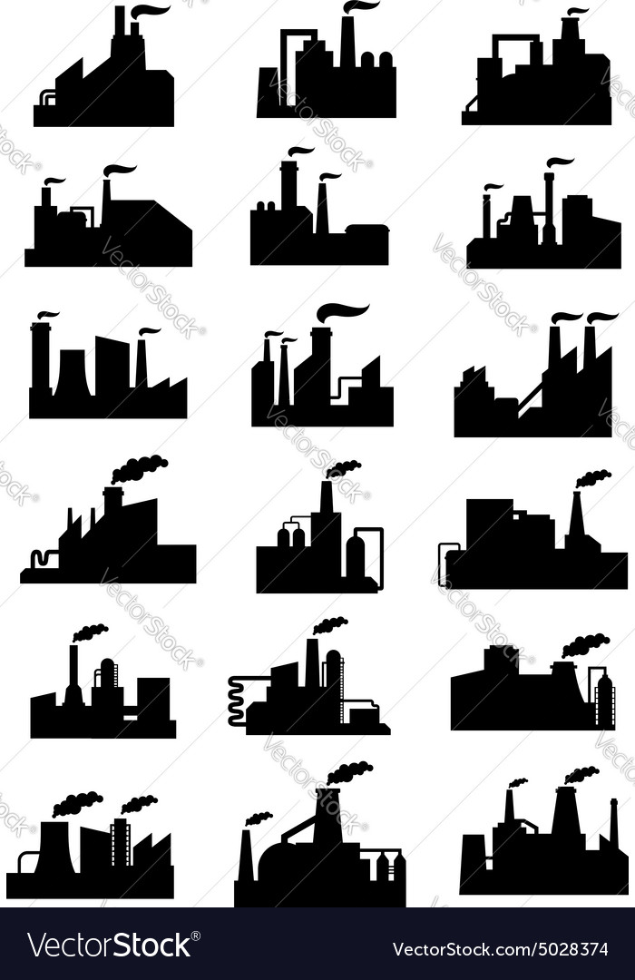 Industrial factories and plants black icons vector