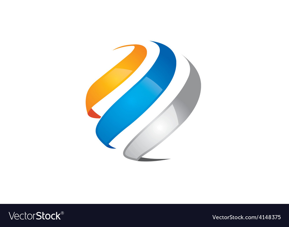 Swirl sphere abstract communication logo vector