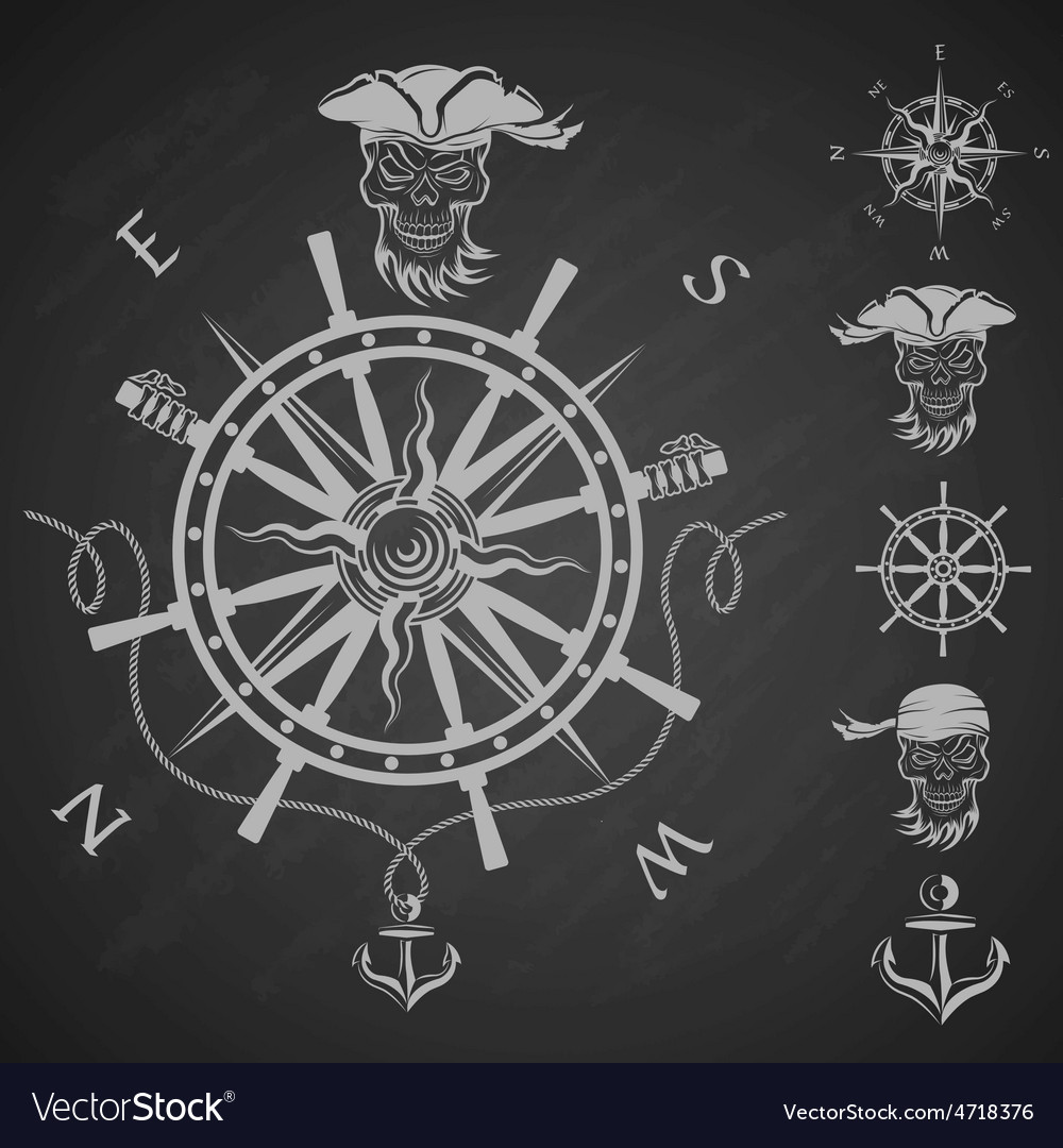 Sea emblem and a set of pirate elements vector