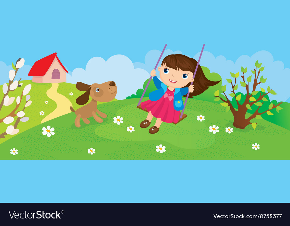 Girl riding on swing in spring vector