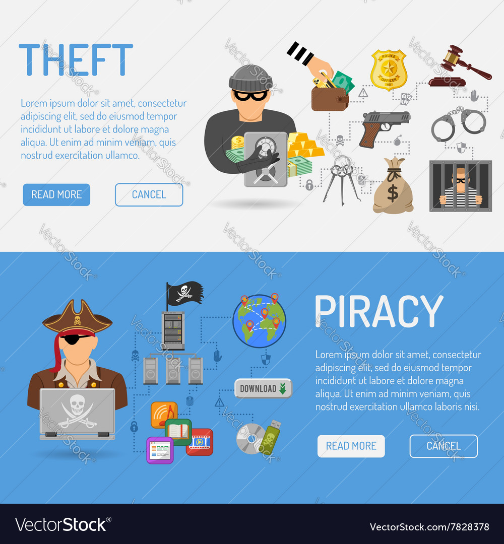 Piracy and theft banners vector
