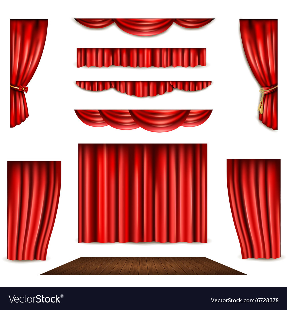 Red curtain and stage icons set vector