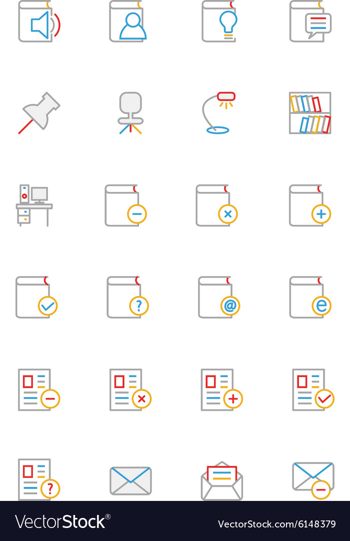 School and education colored line icons 7 vector