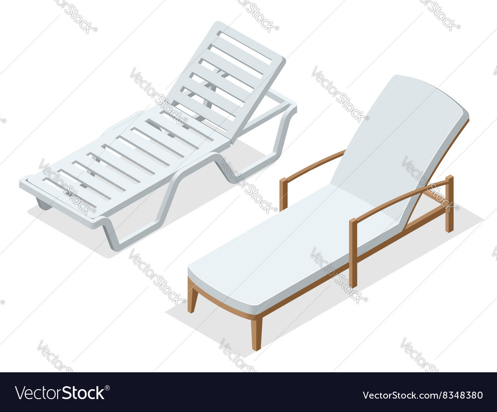 Beach chairs isolated on white background wooden vector